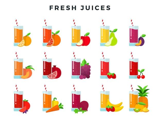 Zestaw soków w szklankach ze słomkami