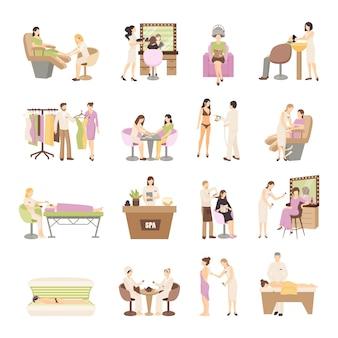 Zestaw spa beauty salon ludzie