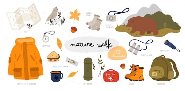 Zestaw spacerowy. dzika natura. ilustracja z wyposażeniem turystycznym w stylu płaski