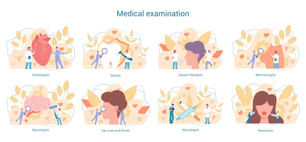Zestaw specjalności medycznych. stomatolog i kardiolog, neurolog i narkolog. diagnostyka i leczenie chorób.