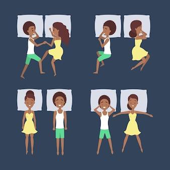 Zestaw śpiącej pary w innej pozycji. postać kobieca w łóżku na poduszce. odpoczynek w sypialni. ilustracja