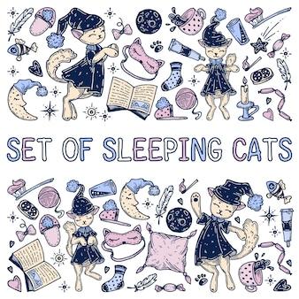 Zestaw śpiących kotów i innych przedmiotów.