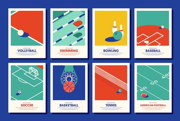 Zestaw sport plakat szablon nowoczesny styl vintage