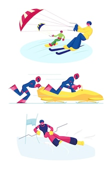 Zestaw sportów snowkiting, bobsleje i slalom narciarski. płaskie ilustracja kreskówka