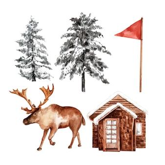 Zestaw sportów zimowych projektowania elementu akwarela, ilustracja.