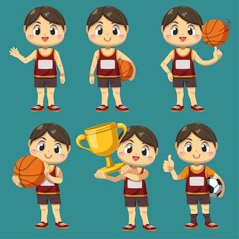 Zestaw sportowca z koszykówki i piłki nożnej z trofeum w postaci z kreskówki, ilustracja na białym tle akcja różnica