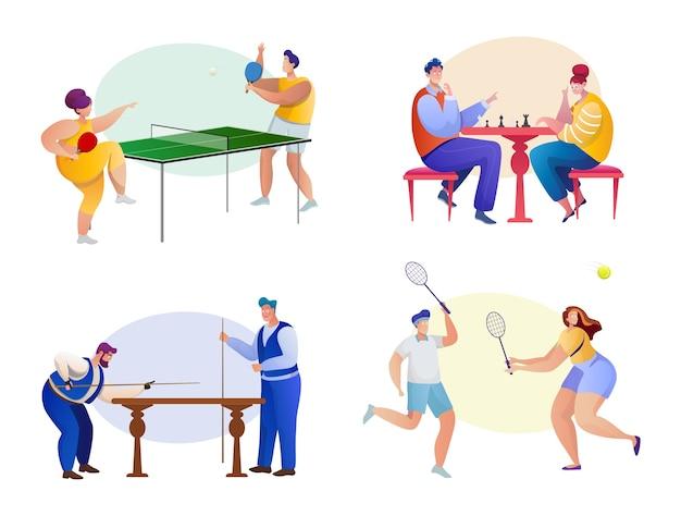 Zestaw sportowy. postacie sportowców. aktywny styl życia. tenis, szachy, badminton, bilard. fitness, cardio, cuesport, gra zręcznościowa. turniej sportowy