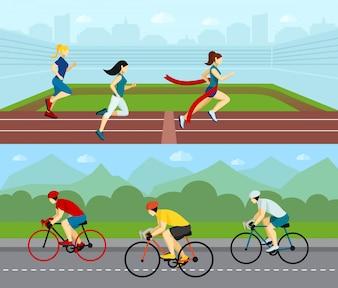 Zestaw sportowy poziomy sport ludzi