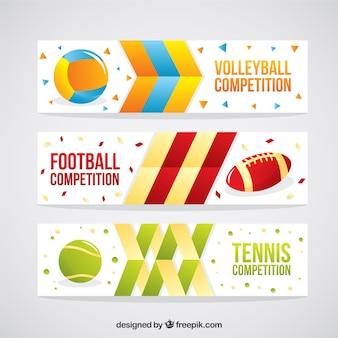 Zestaw sportowych piłek streszczenie banery