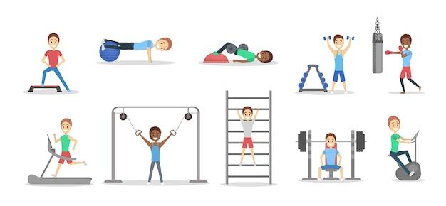 Zestaw sprawnych ludzi ćwiczeń na siłowni. podnoszenie ciężarów i wykonywanie ćwiczeń cardio. sport, fitness i zdrowy tryb życia. płaskie ilustracji wektorowych