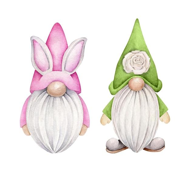 Zestaw spring gnome na białym tle