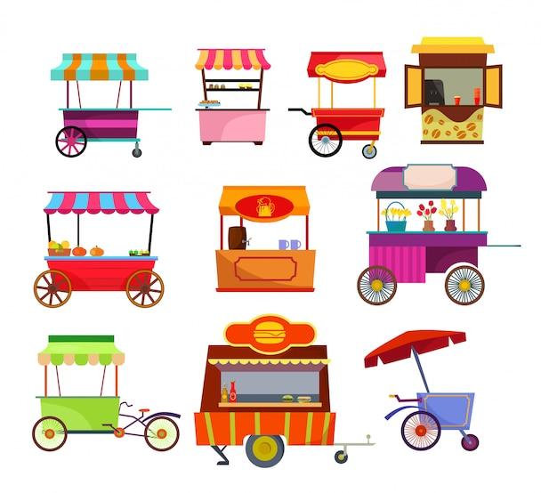 Zestaw sprzedawców ulicznych
