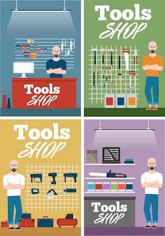 Zestaw sprzedawcy we wnętrzu sklepu z narzędziami