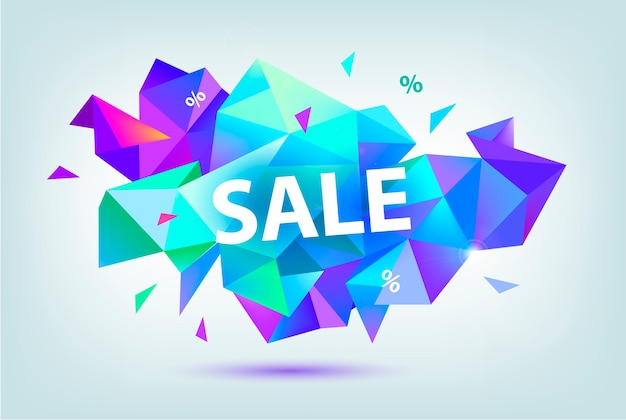 Zestaw sprzedaży fasetowanych banerów geometrycznych, plakatów, kart. abstrakcyjne kształty rabatu. użyj do reklamy, sieci