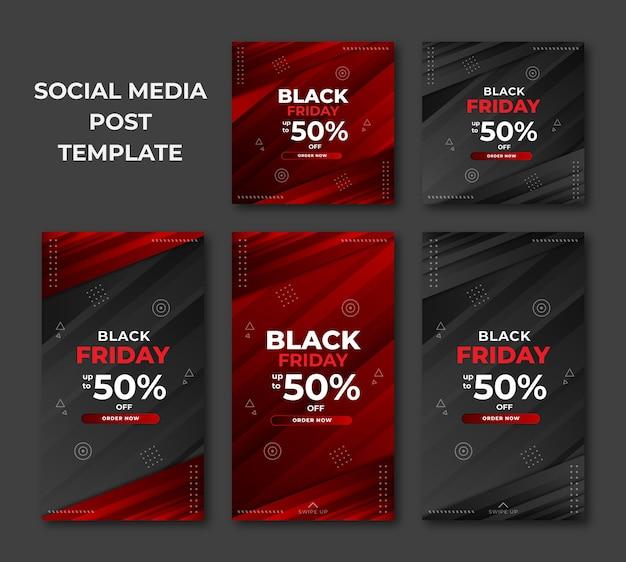 Zestaw sprzedaży w czarny piątek w nowoczesnym szablonie dla postów w mediach społecznościowych