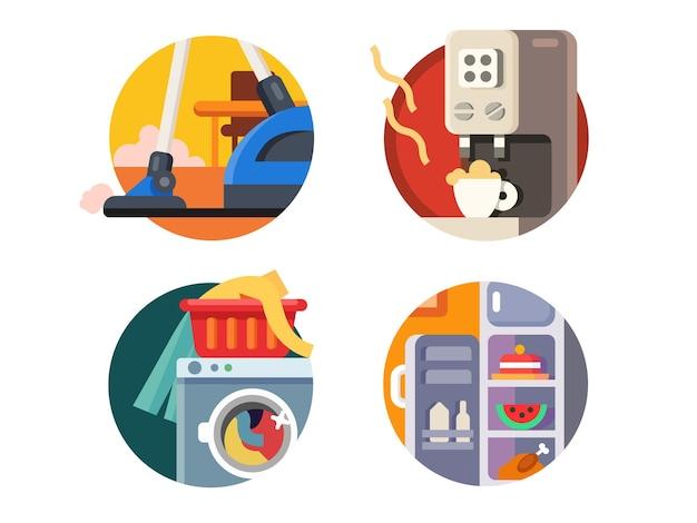 Zestaw sprzętu agd. odkurzacz i lodówka, ekspres do kawy i pralka. ilustracja