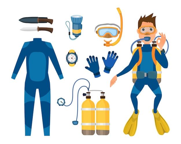 Zestaw sprzętu do nurkowania w łowiectwie podwodnym.