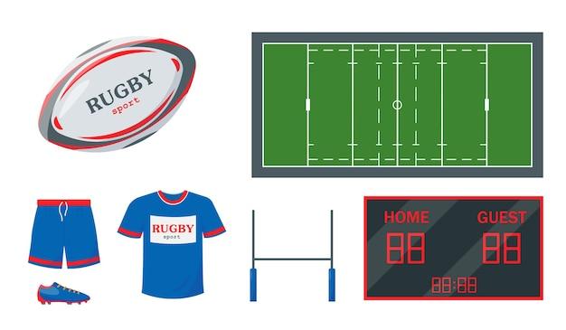 Zestaw sprzętu do rugby piłka bramka odzież tablica wyników i boisko do meczu sportowego
