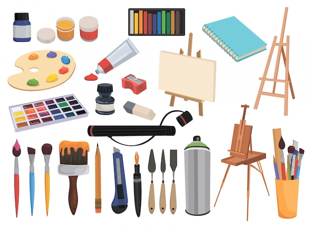 Zestaw sprzętu do sztuki. kolekcja obiektów do rysowania i kreatywności.
