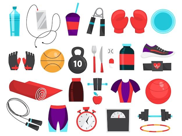 Zestaw sprzętu fitness. kolekcja narzędzi sportowych