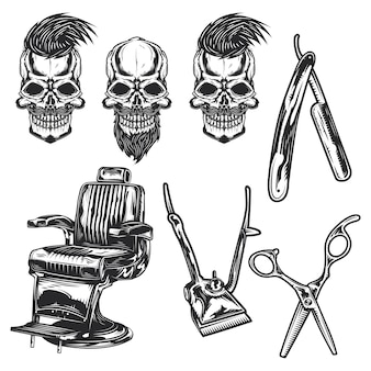 Zestaw sprzętu fryzjerskiego i czaszki