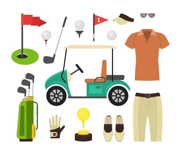 Zestaw sprzętu golfowego. gra sportowa.