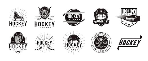Zestaw sprzętu hokejowego logo godło pieczęć bagde