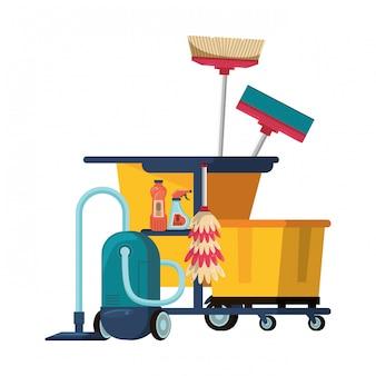 Zestaw sprzętu i produktów czyszczących