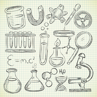 Zestaw sprzętu laboratoryjnego w stylu bazgroły