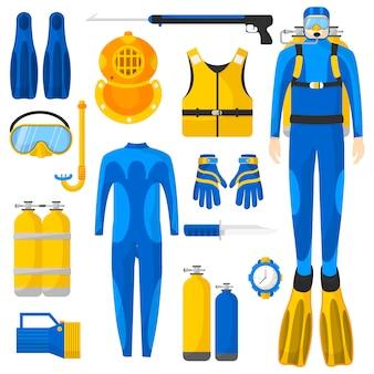 Zestaw sprzętu lub elementów do nurkowania.