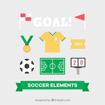 Zestaw sprzętu piłkarskiego w stylu płaski