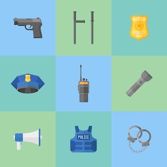 Zestaw sprzętu policyjnego, ikony broni płaskiego stylu.