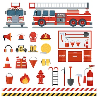 Zestaw sprzętu przeciwpożarowego wektor narzędzia strażackie płaski sprzęt przeciwpożarowy z kreskówek