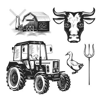 Zestaw sprzętu rolniczego i zwierząt gospodarskich na białym tle.
