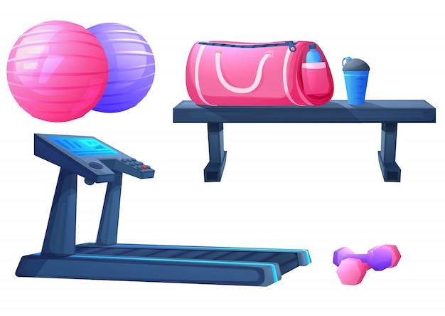 Zestaw sprzętu sportowego do ćwiczeń fitness