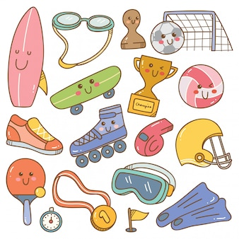 Zestaw sprzętu sportowego w stylu kawaii