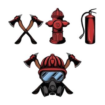 Zestaw sprzętu strażackiego i wektor