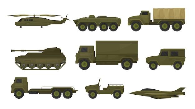 Zestaw sprzętu wojskowego na białym tle
