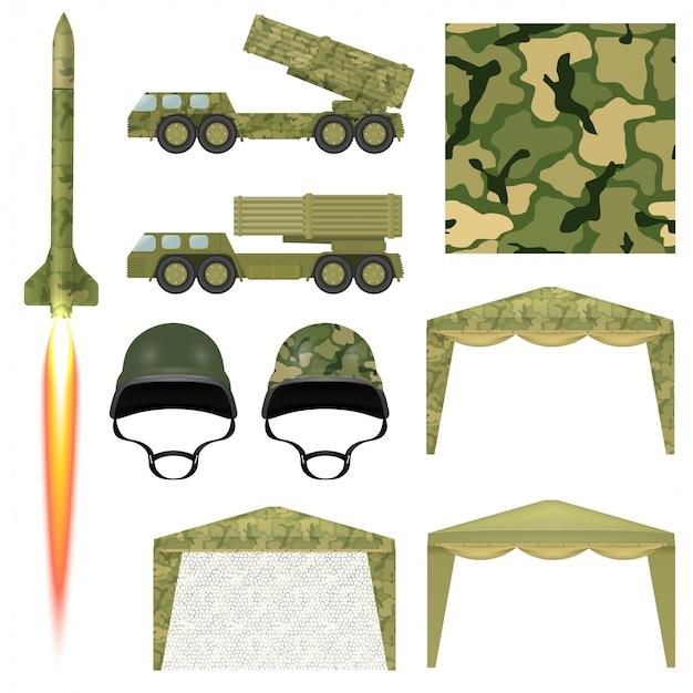 Zestaw sprzętu wojskowego. pocisk wojskowy, hełm, markiza, materiał ochronny, wyrzutnia rakiet.