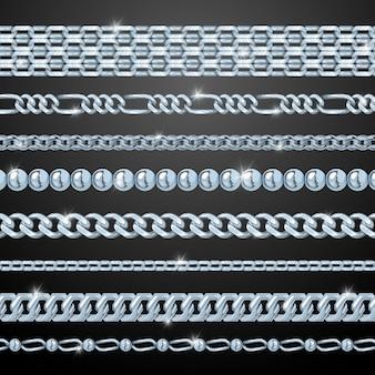 Zestaw srebrny łańcuch