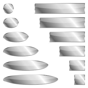Zestaw srebrnych banerów na białym tle -