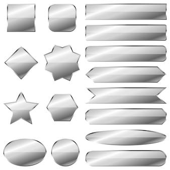 Zestaw srebrnych banerów na białym tle.