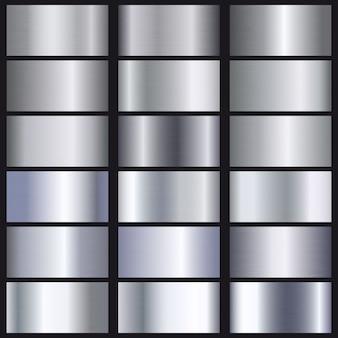 Zestaw srebrnych gradientów tekstury.
