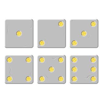 Zestaw srebrnych kostek wektorowych ze złotymi cyframi w postaci śrub w stylu kreskówki