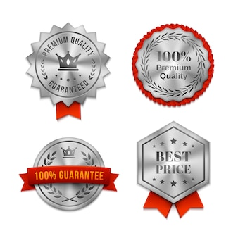 Zestaw srebrnych metalicznych odznak jakości lub etykiet w różnych kształtach z czerwonymi wstążkami i tekstem gwarantującym jakość ilustracji wektorowych produktu lub usługi na białym tle