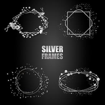 Zestaw srebrnych metalowych ramek