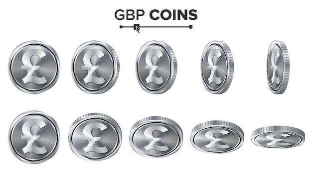 Zestaw srebrnych monet gbp 3d