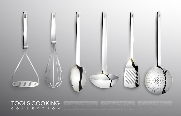 Zestaw srebrnych narzędzi kuchennych realistyczne kuchenne