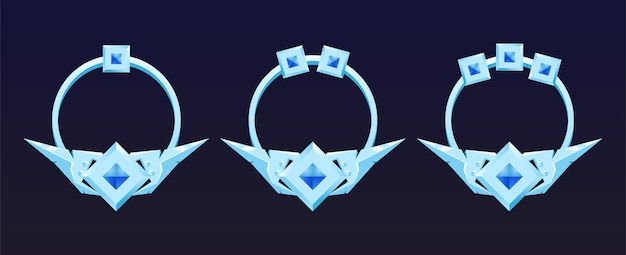 Zestaw srebrnych obramowań obramowań elementów interfejsu gry