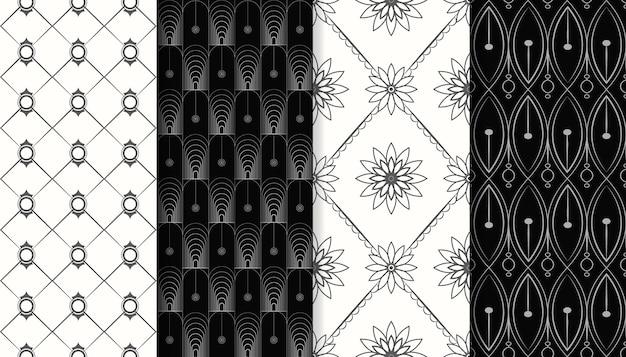 Zestaw srebrnych ozdobnych wzorów bez szwu